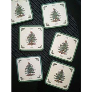 Spode Christmas tree 6 coaster set